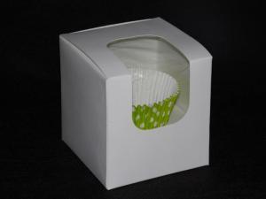Pudełko bez druku na 1 muffinkę z okienkiem