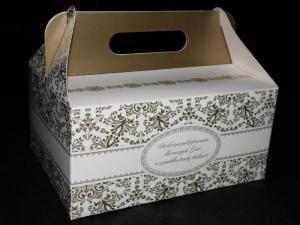 Pudełko na ciasto weselne 'Złote'