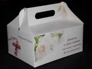 Pudełko na ciasto komunijne 'Róże'